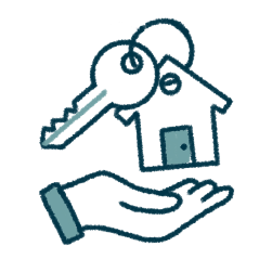 icon of a buyer's hand receiving a key and a home