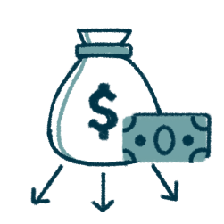 icon of a money bag above arrows that point out of the bag