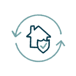 icon of a home with a shield inside a circle made up of two arrows