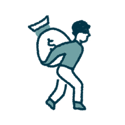 icon of a masked person with a money bag on their back