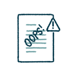 "icon of a document with ""oops"" in front of the text, and a warning symbol"