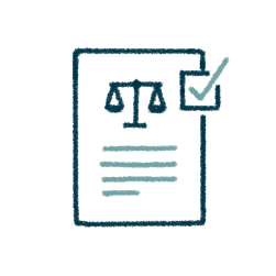 icon of a document with the scales of justice and a check mark