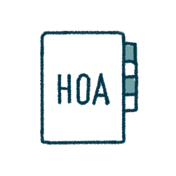 "icon of an address book with ""hoa"" printed on the front"