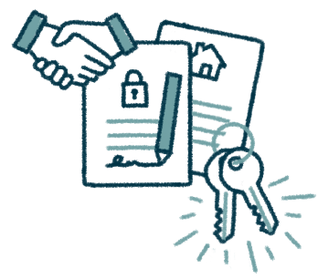 icon of a handshake, documents, and keys