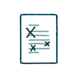 icon of a document with xs across some of the info