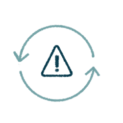 icon of a warning symbol enclosed in a circle with two arrows