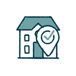 icon of a home with a dropped pin and a checkmark