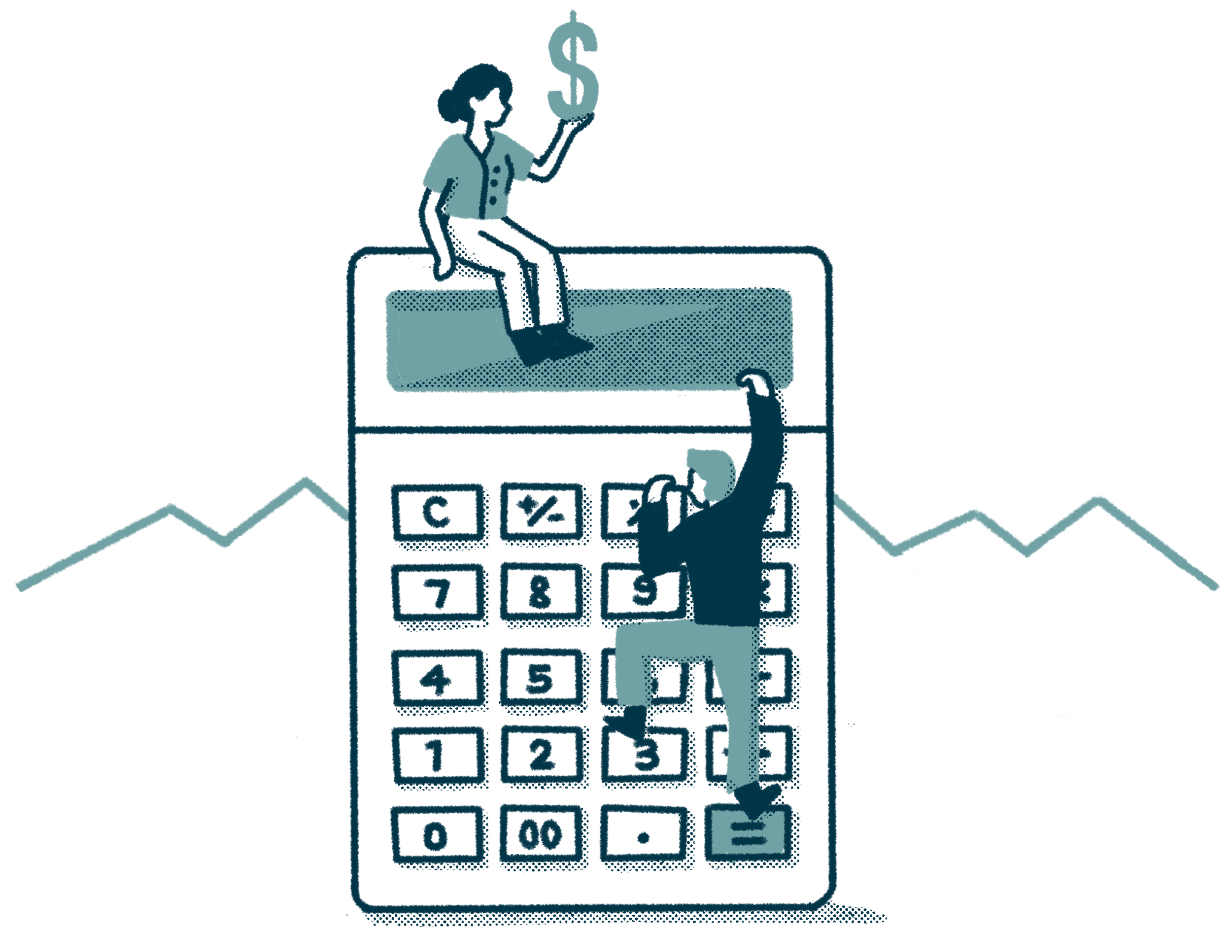 one person climbing up a giant calculator while another person sits on top holding a giant dollar symbol. mountains in the background.