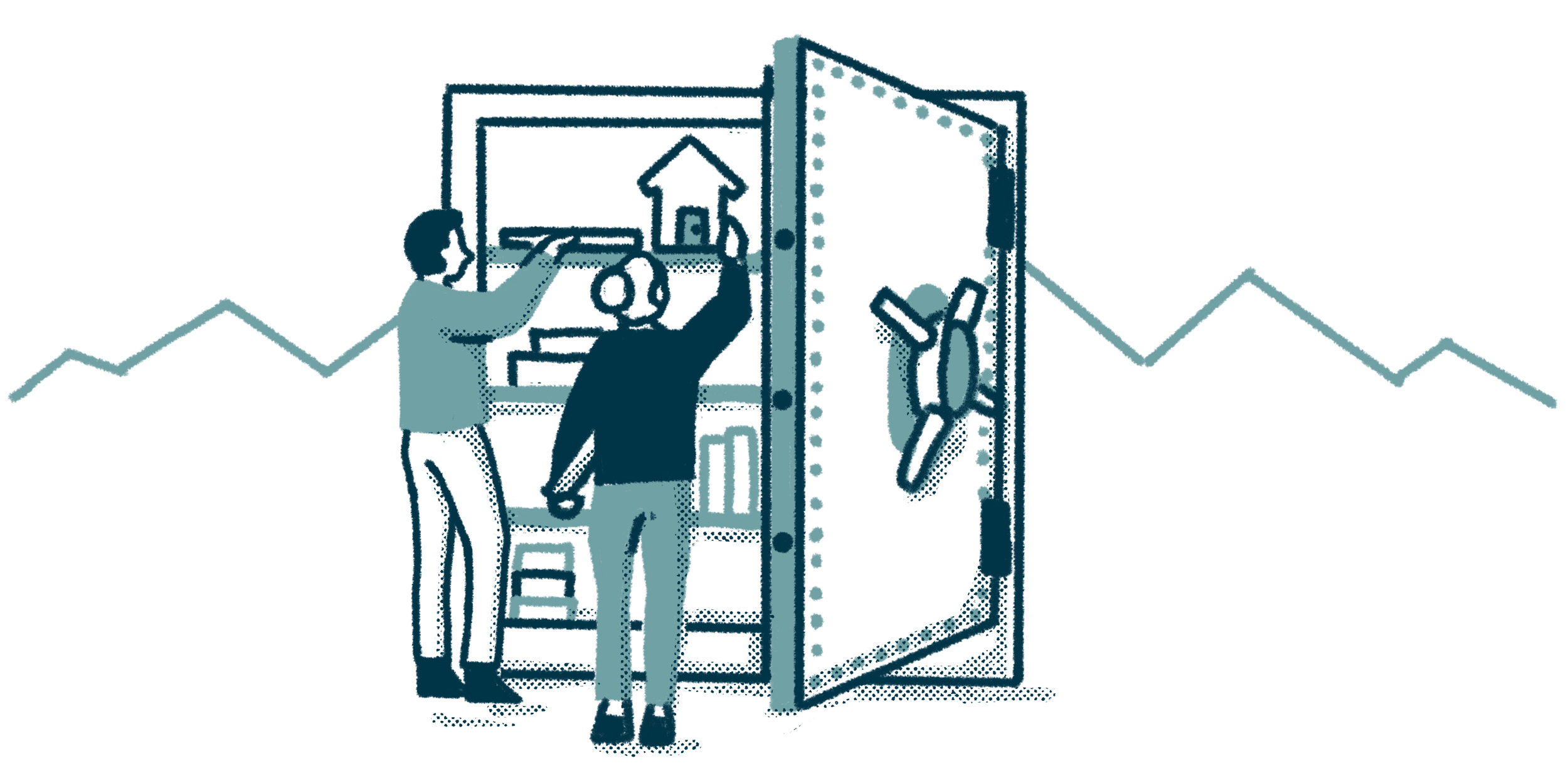 two people placing objects into a giant safe