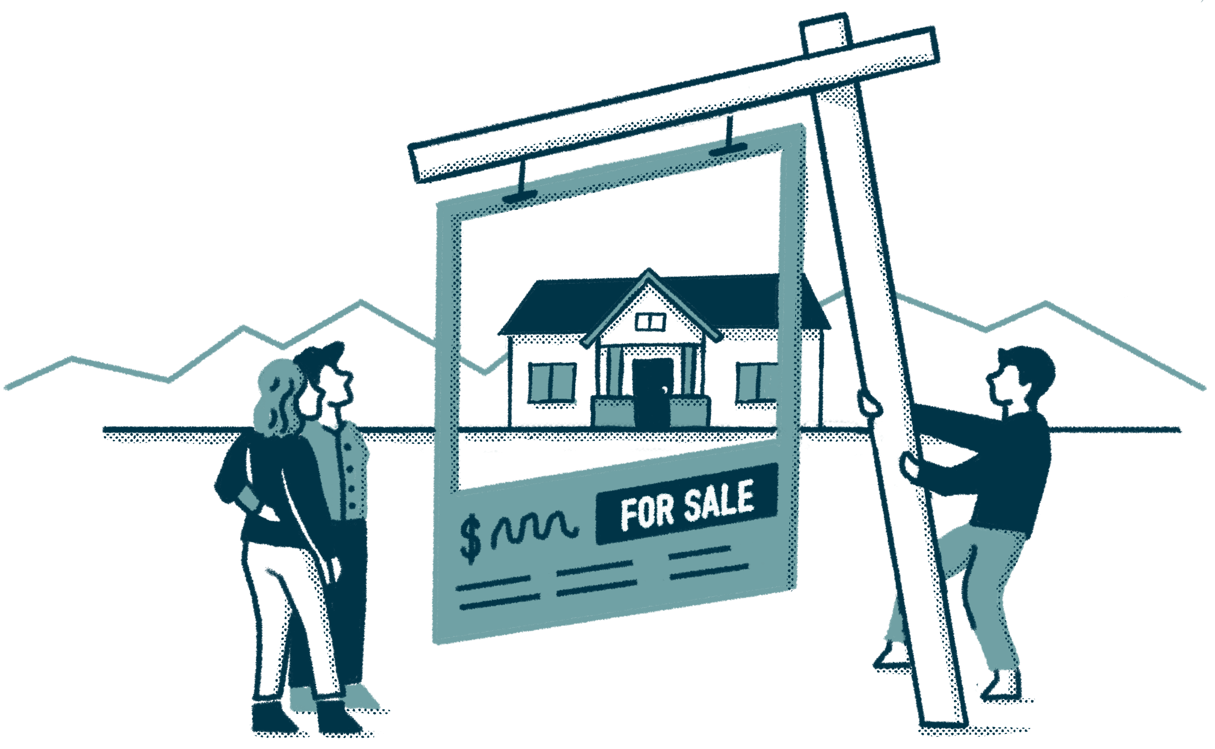 a realtor pulling up a giant real estate sign with listing information and a window that allows you to see the actual home and the mountains in the background. a couple looks on.