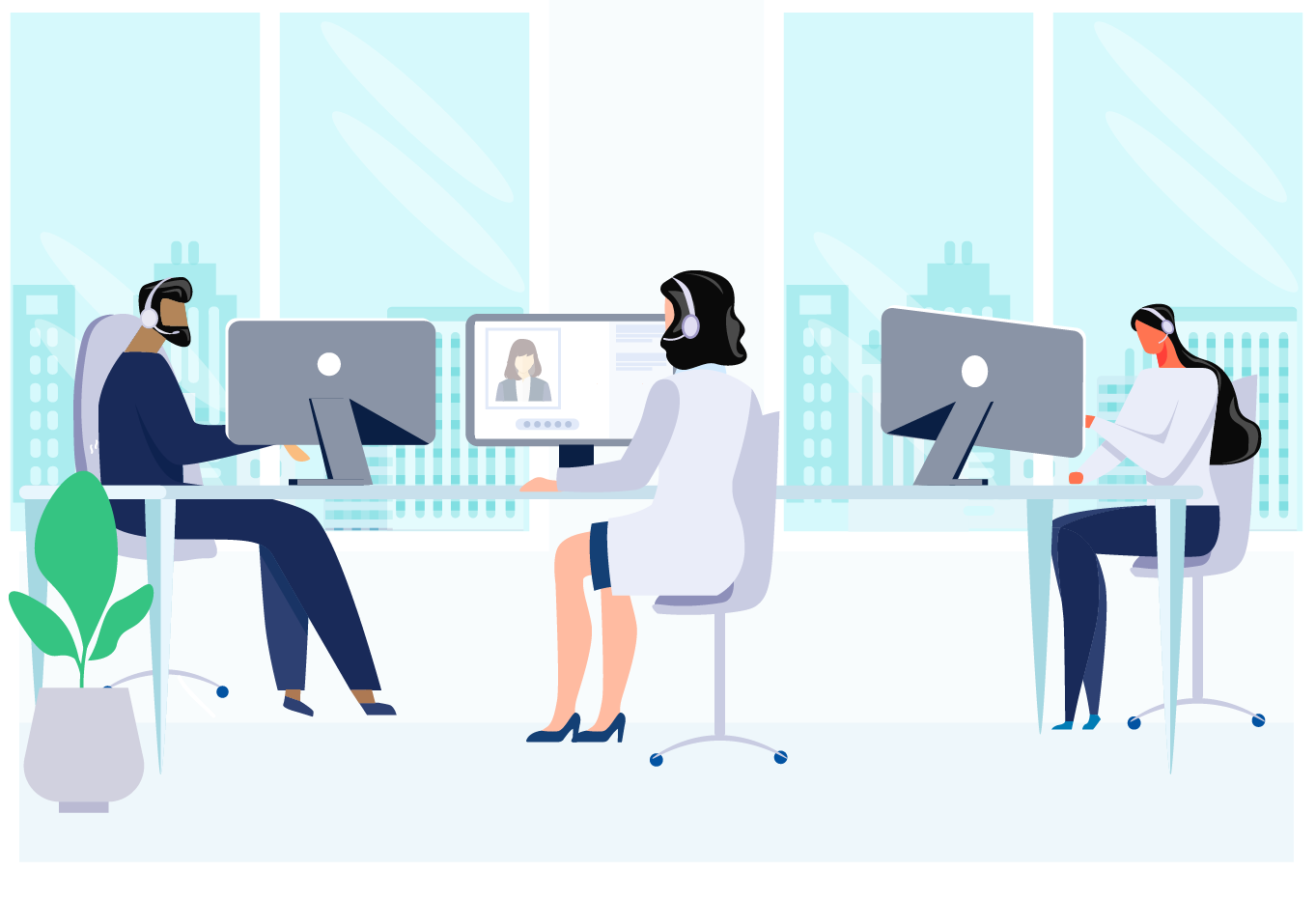 workplace with people working animated
