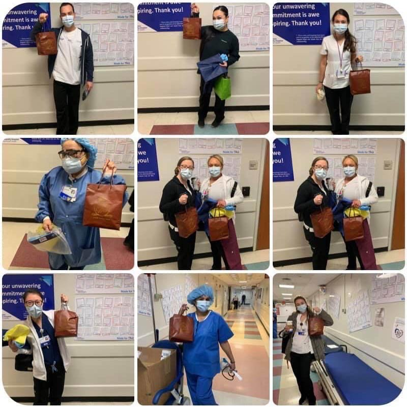 Photo collage of frontline medical workers with donations from Beauty, PPE, And Essential Care For The Ones That Are There