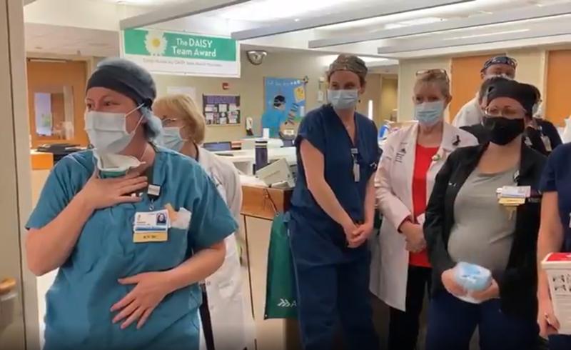Nurses at Mount Sinai South Nassau Hospital watching Amy Schumer on video call