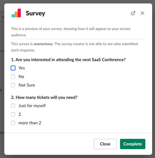 survey preview mode