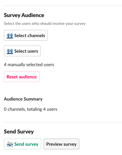 set up survey audience