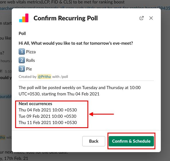 schedule recurring poll