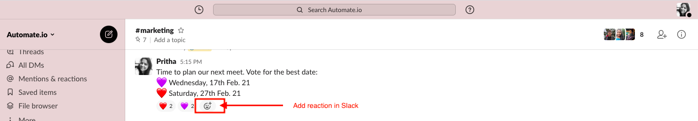 add reaction in Slack