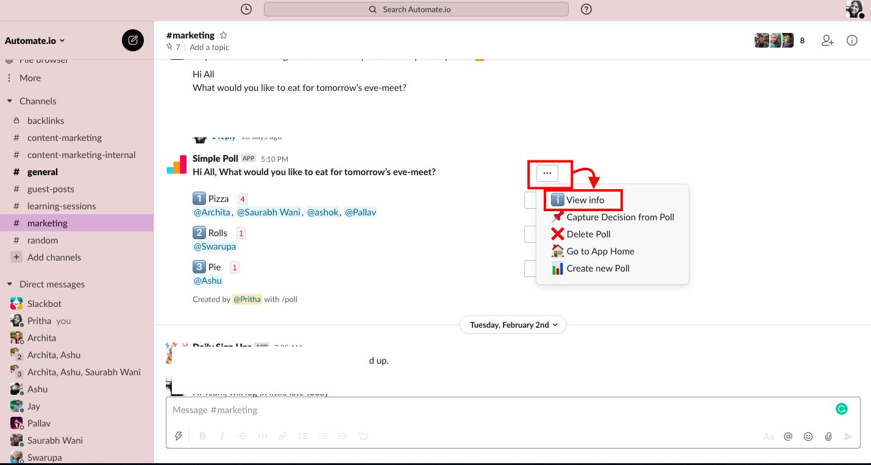 view poll info in slack