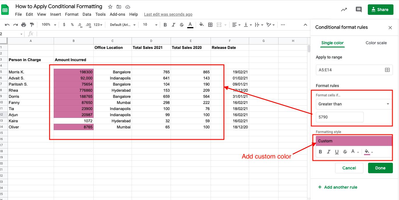number-based rule google sheets