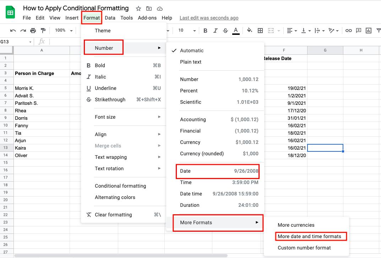 number formatting google sheets
