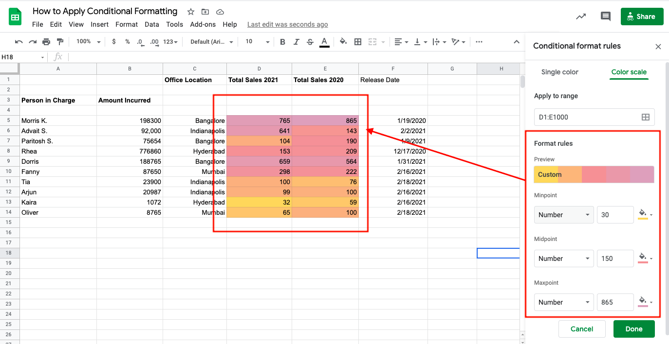 Conditional formatting using color scale