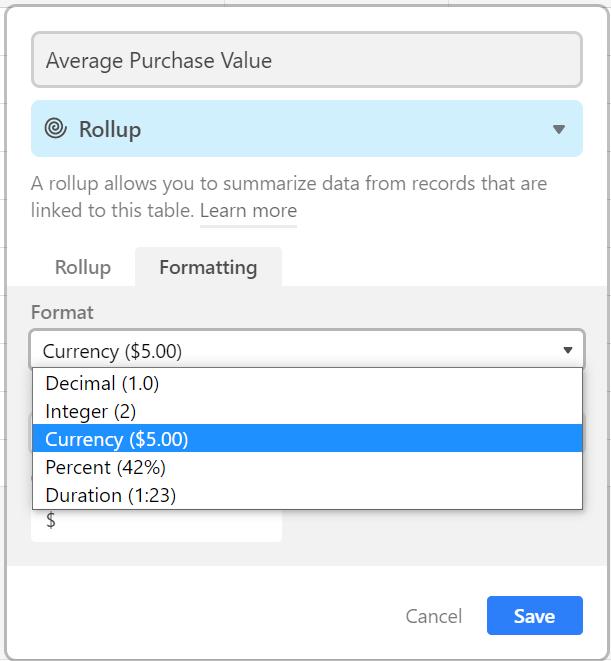numerical format airtable