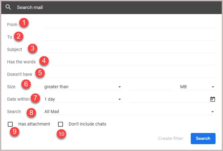 gmail filters criteria