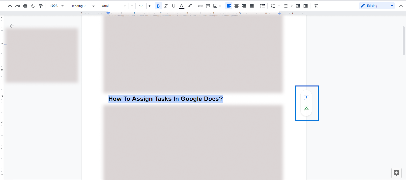 assign tasks as comments google docs