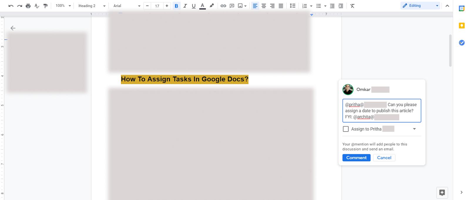 assign tasks in google docs