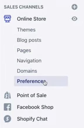 preference menu shopify store