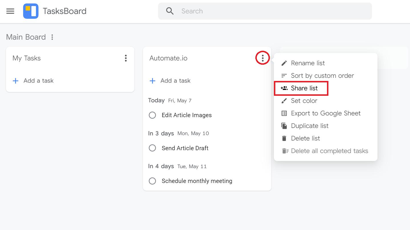 google tasksboard share list