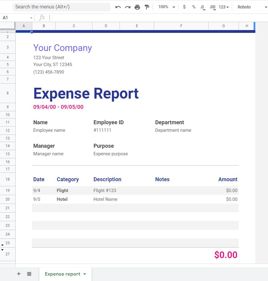 expense report google sheets templates
