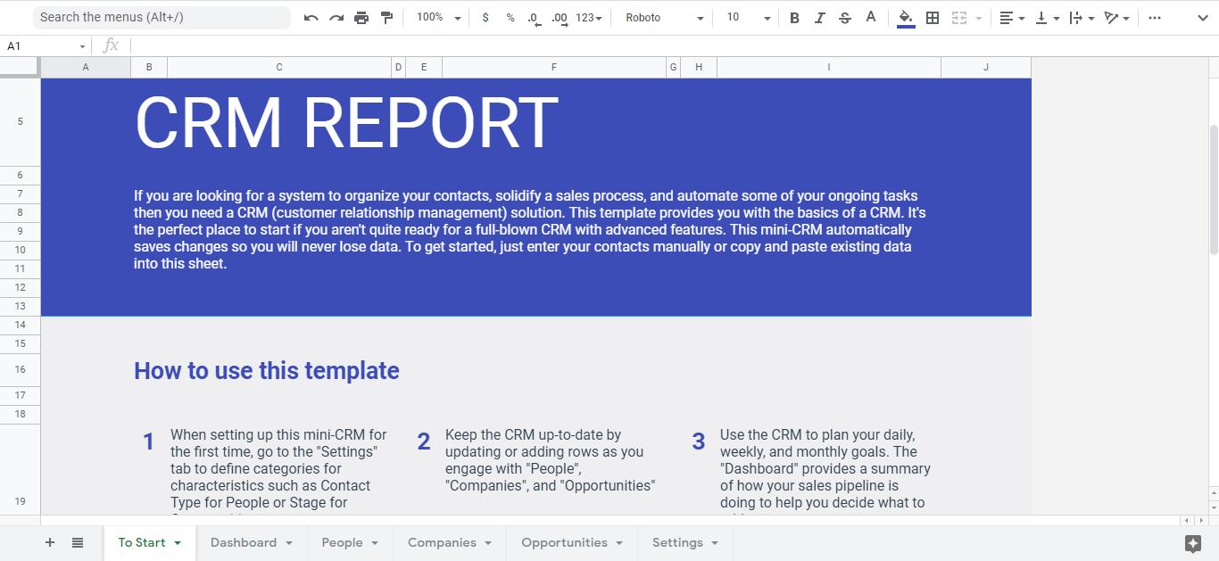 CRM google sheet template