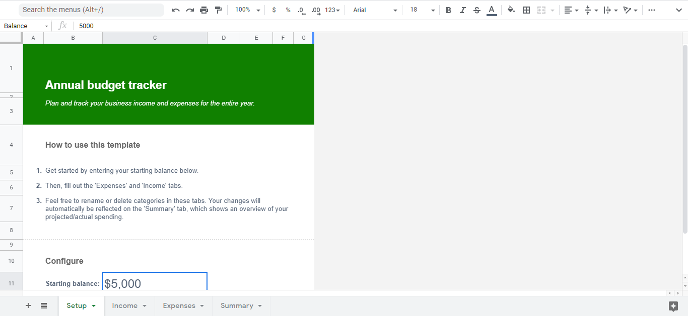 budget calculation google sheets template