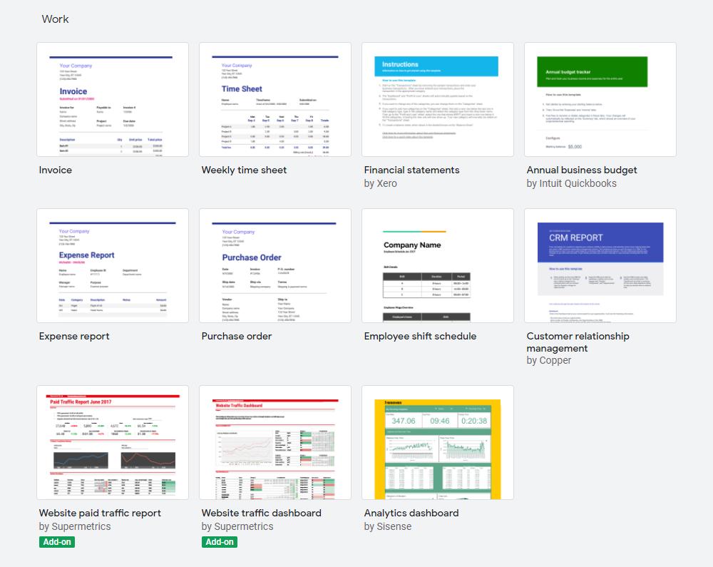 Google Sheets templates library