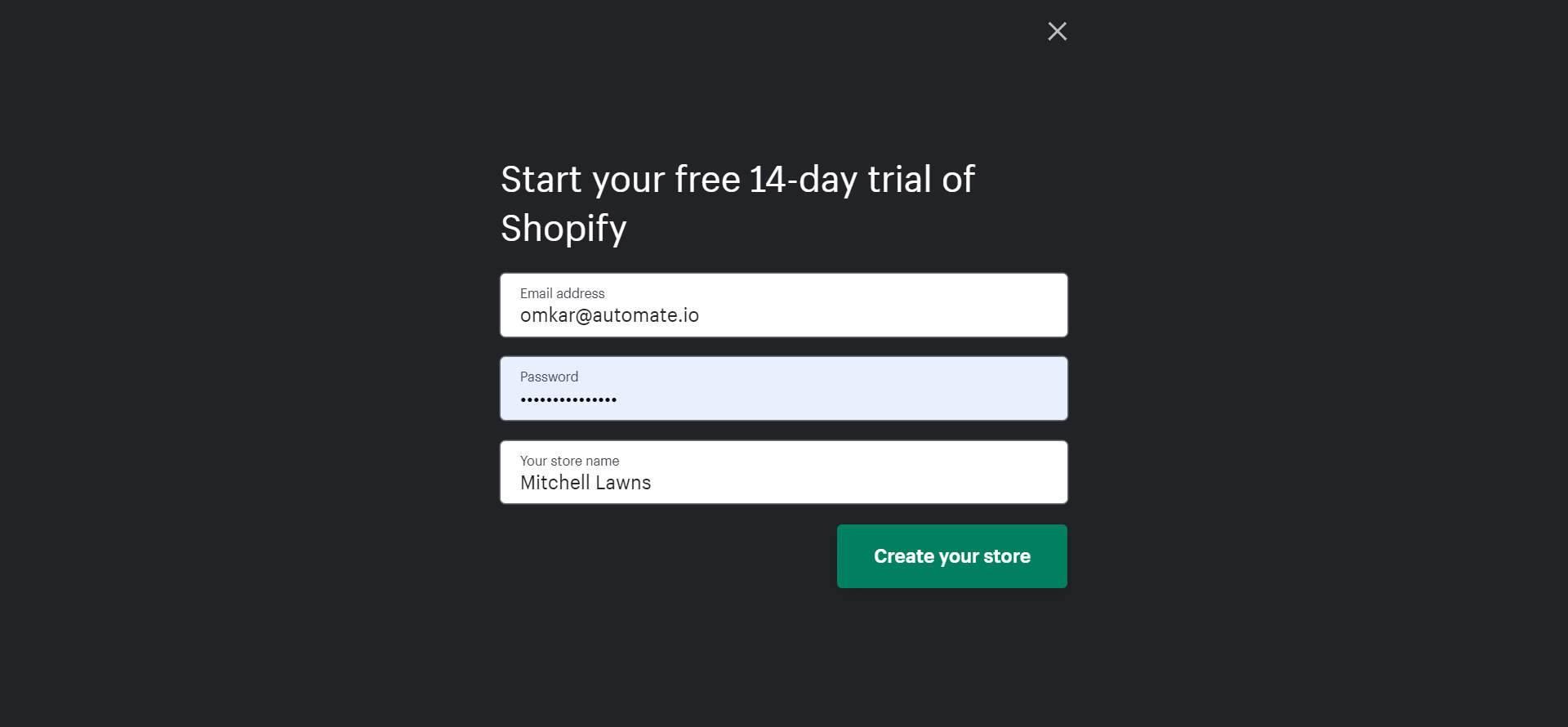 Sign up on Shopify