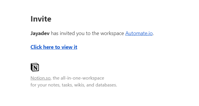 Notion's email invite to workspace