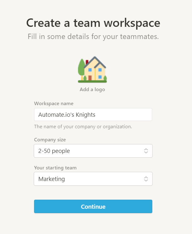 Enter details of your team into Notion workspace