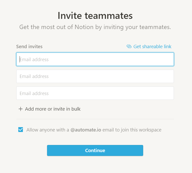 Invite teammates to Notion