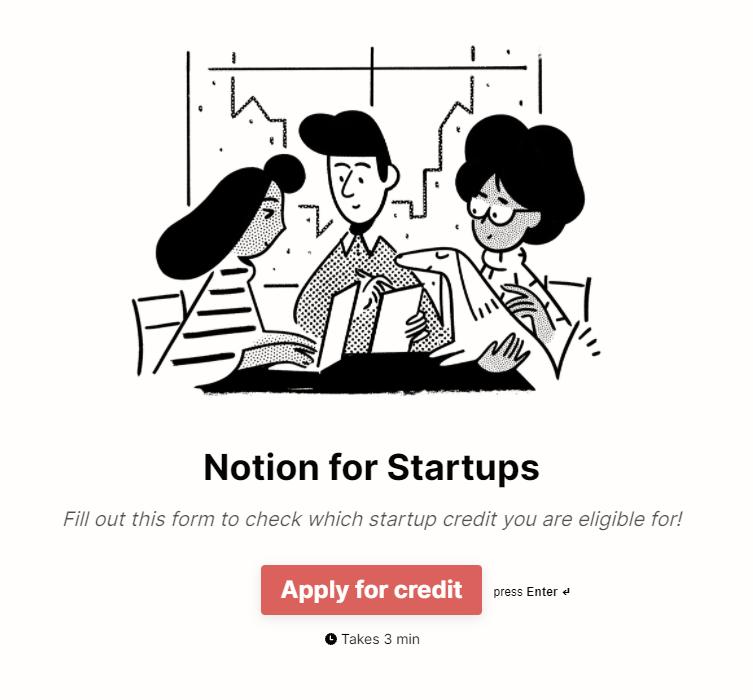 Apply for Notion Startups program