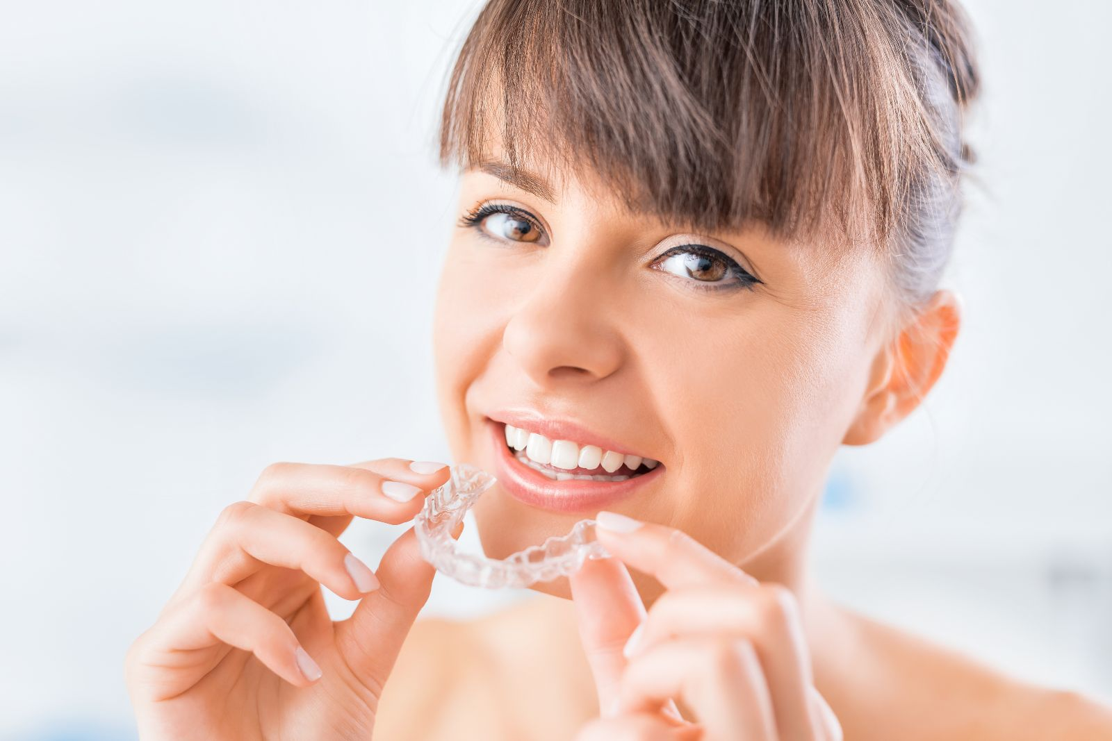 Beautiful smile and white teeth of a young woman