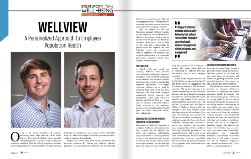 Wellview Named Top Well-Being Startup of 2021 by Startup City Magazine