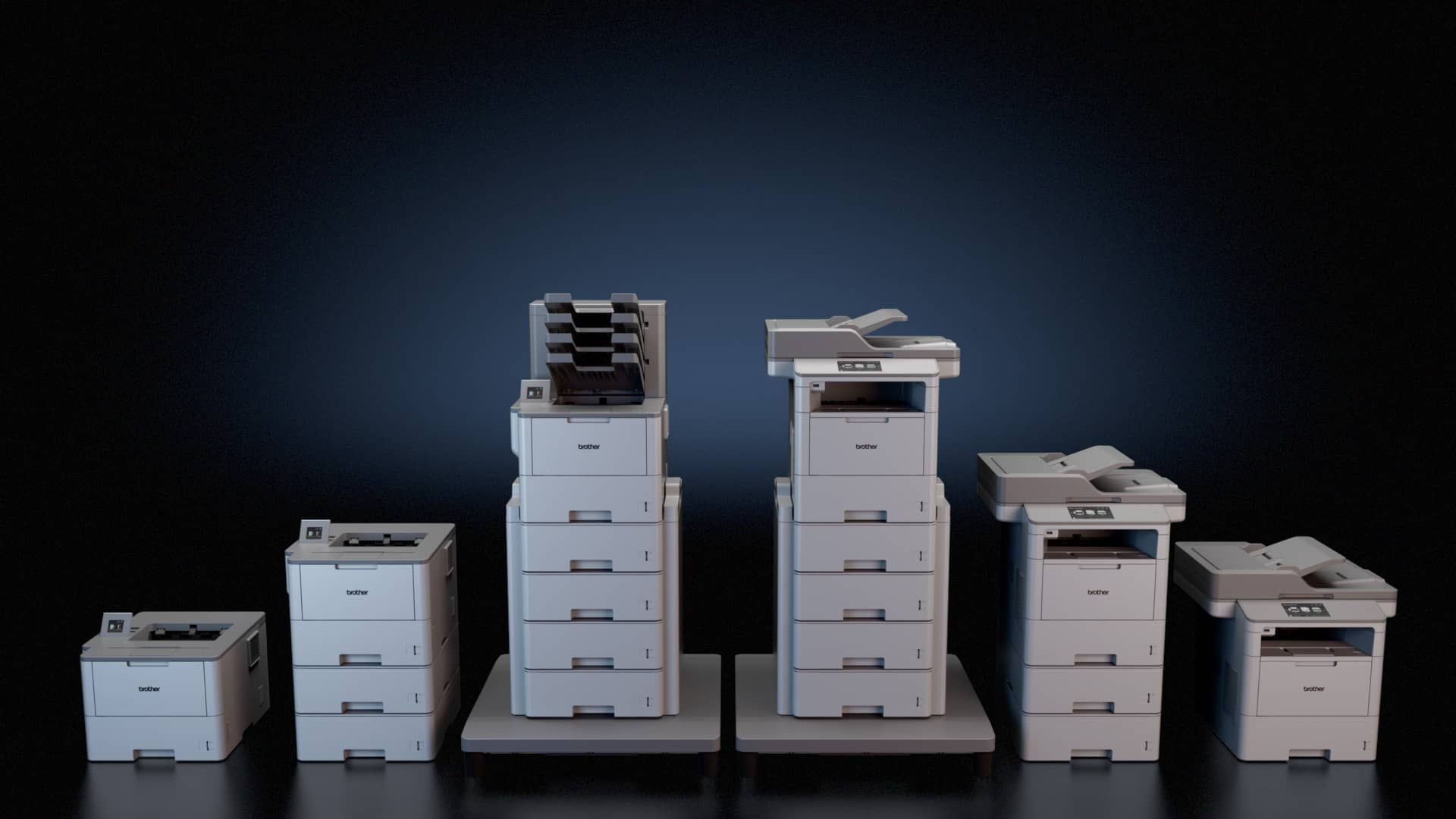 Brother copiers, printers, and MFPs against a dark background