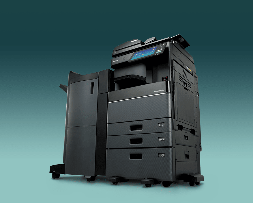 Toshiba printer against green gradient background