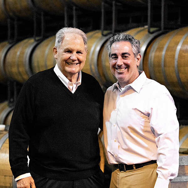 Joseph S Franzia, Co-Founder and President of Classic Wines of California, stands next to his son, Damon Franzia, the managing director of classic wines of California