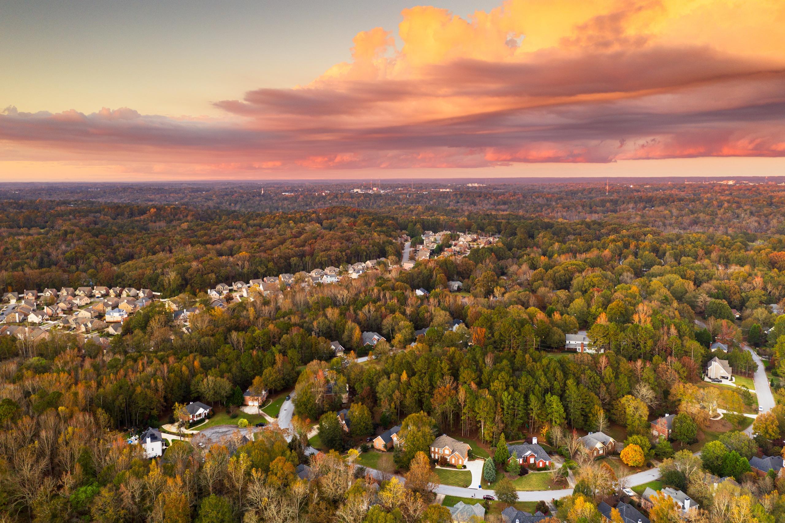 beautiful neighborhood in sunset