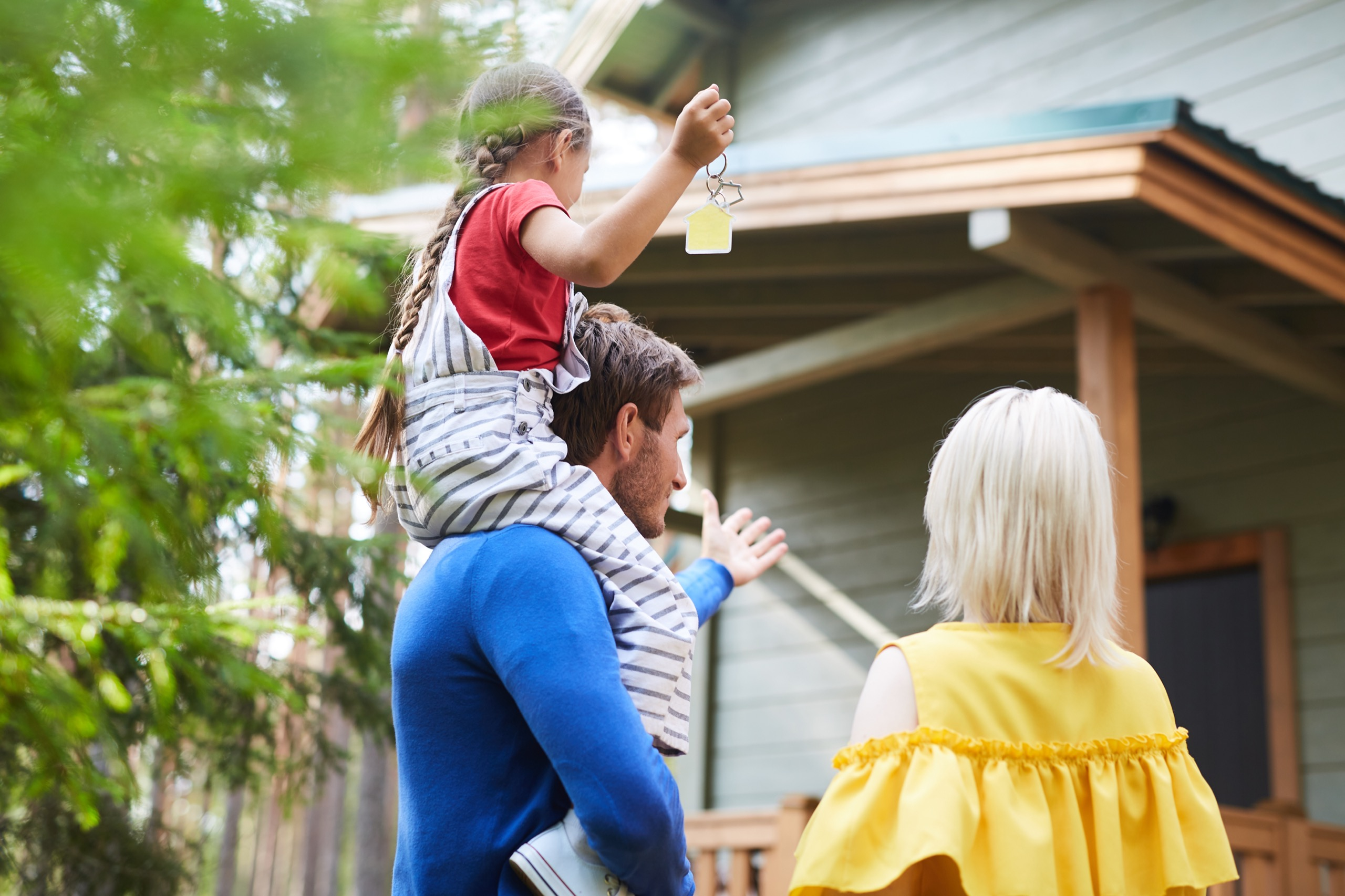family moving into their new home after a home inspection