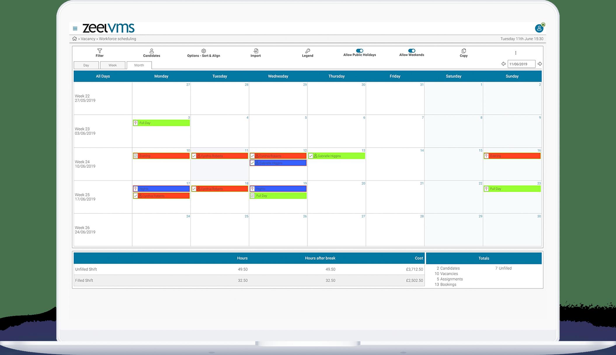 VMS workforce scheduling