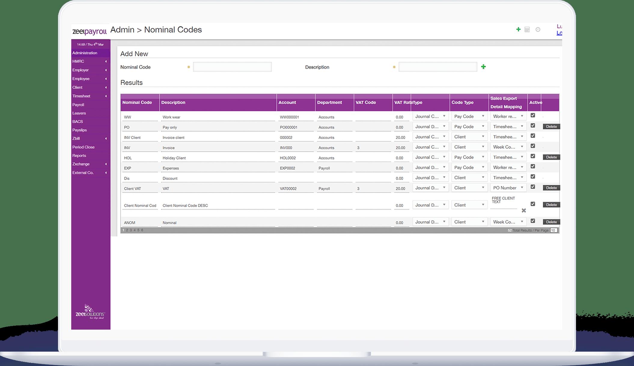 Payroll dashboard screen