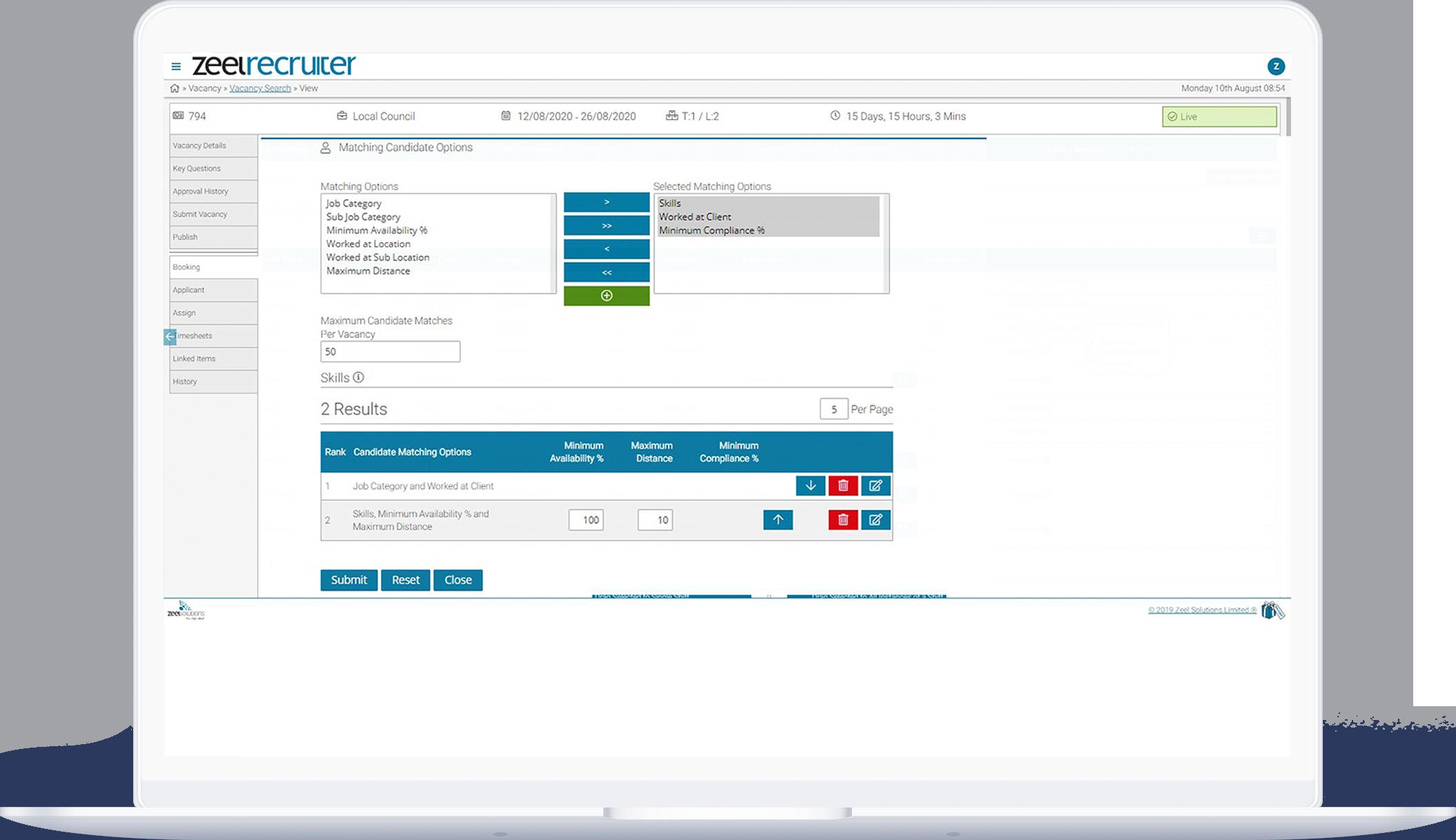 Recruitment agency software vacancy dashboard